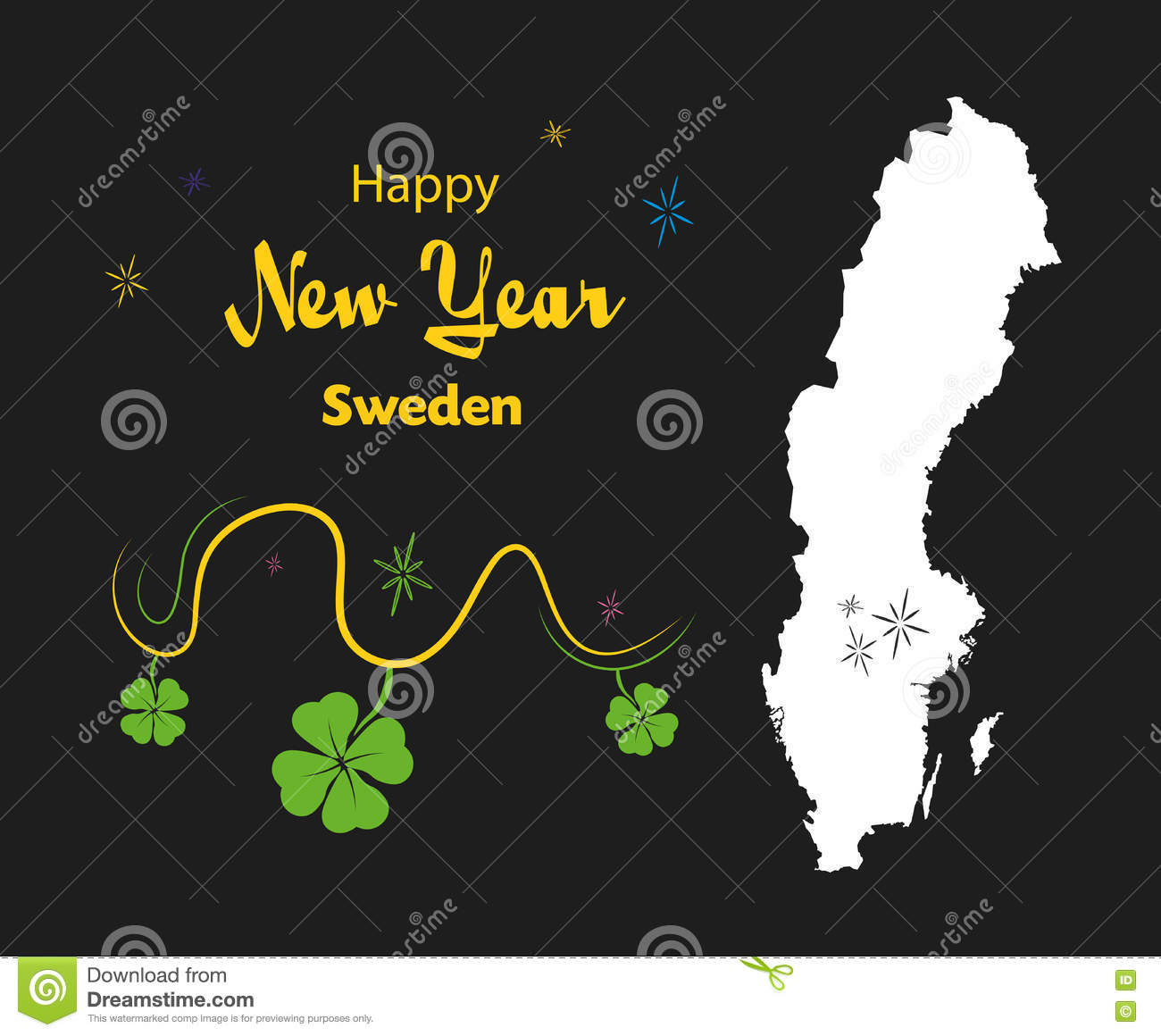 download happy new year theme with map of sweden stock illustration illustration of cloverleaf
