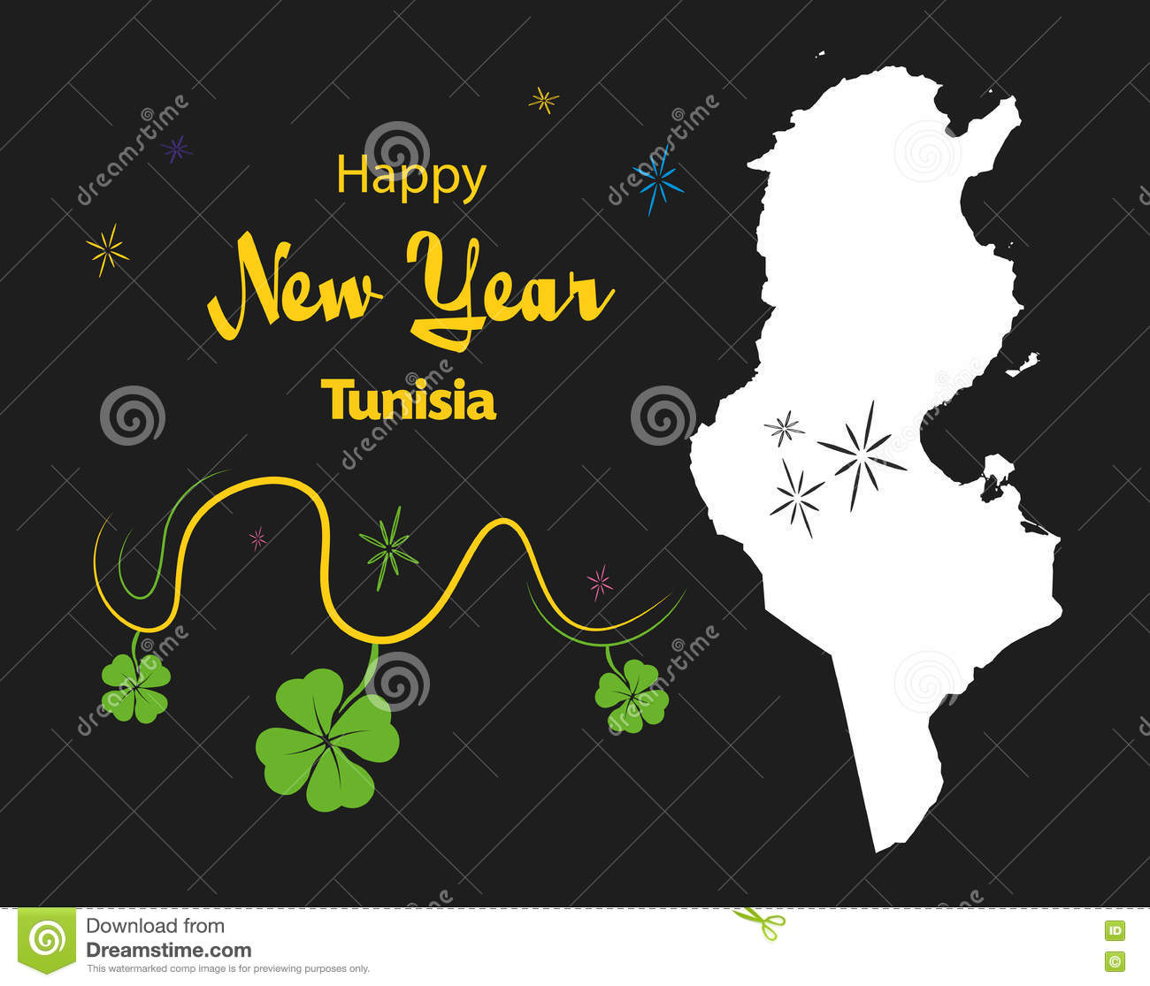download happy new year theme with map of tunisia stock illustration illustration of simple