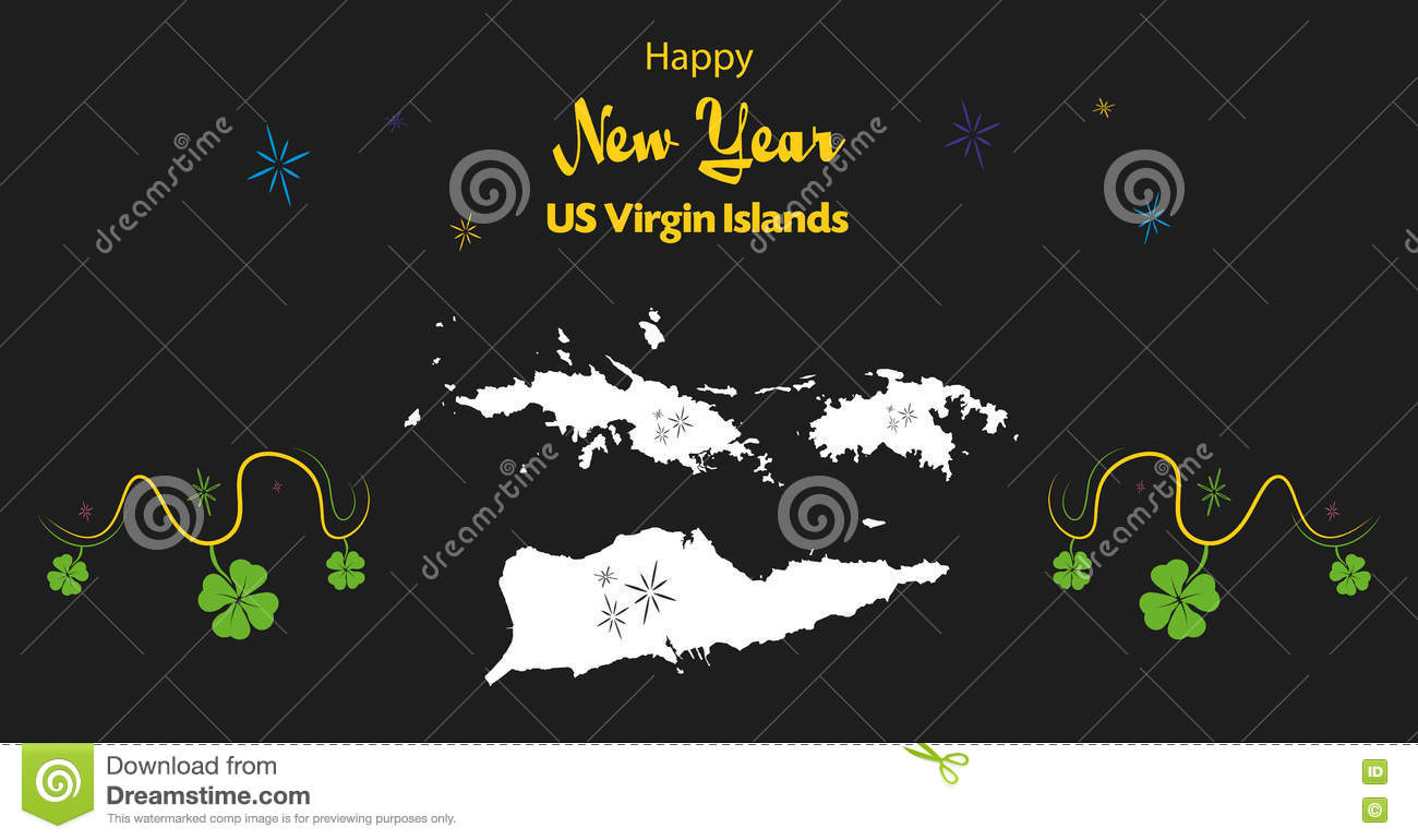 happy new year theme with map of us virgin islands
