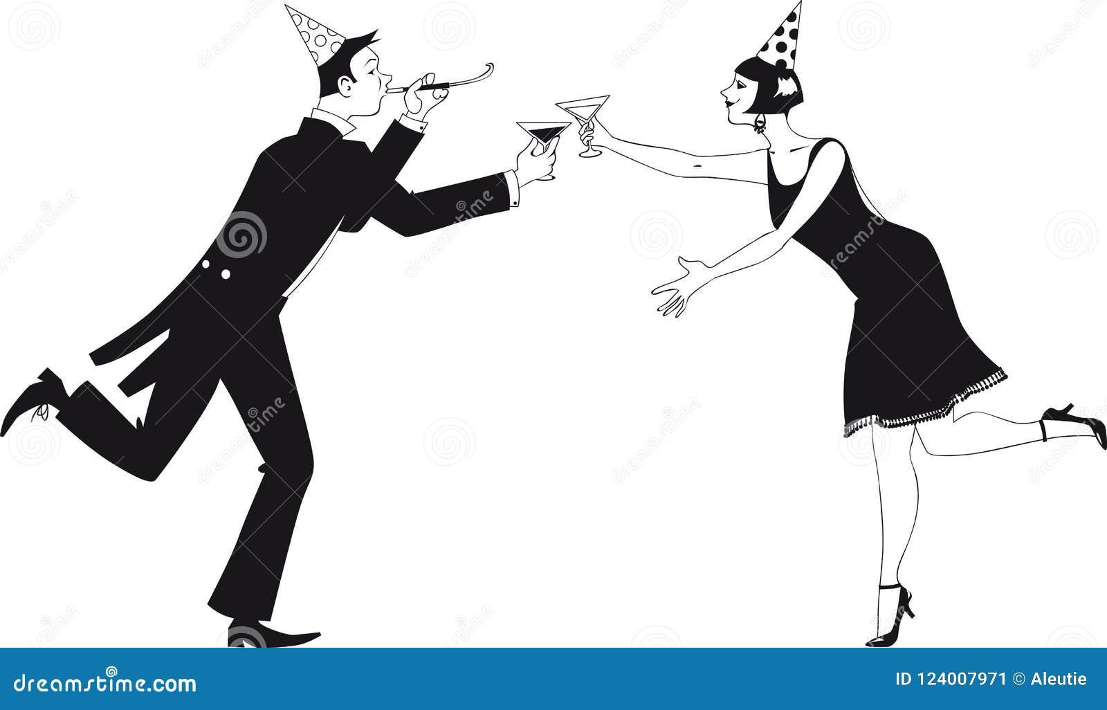 Happy new year toast stock vector. Illustration of drinking - 124007971