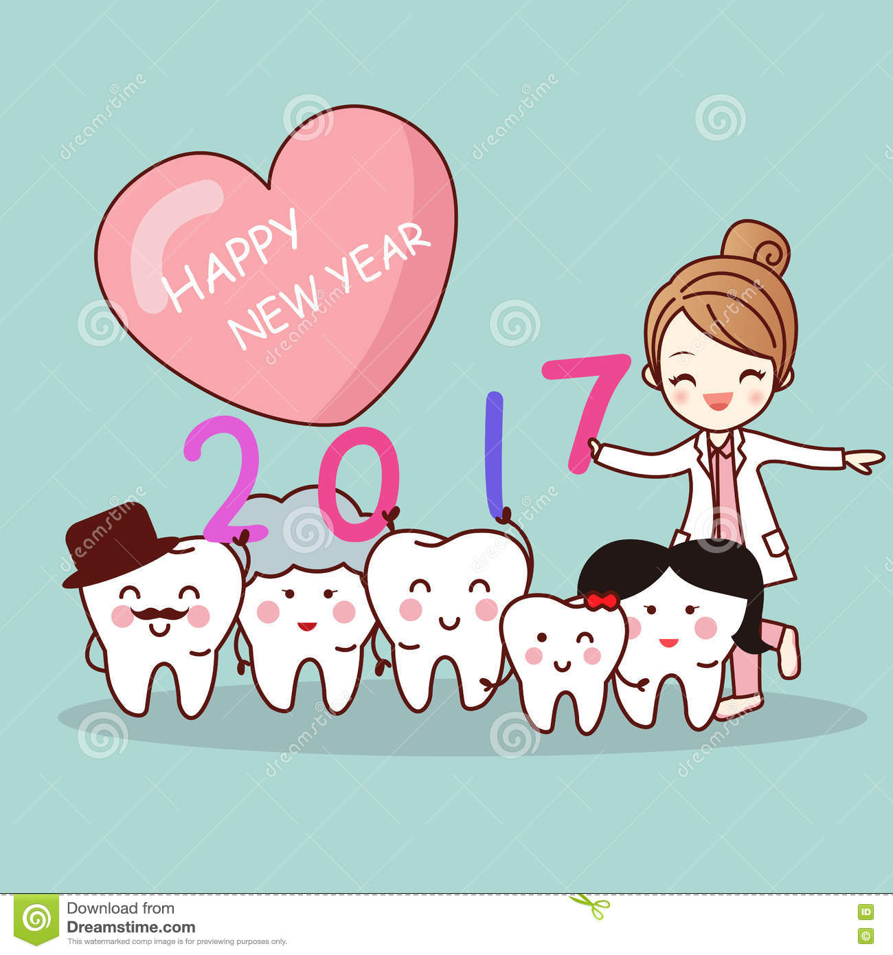 happy new year with tooth stock vector image of date