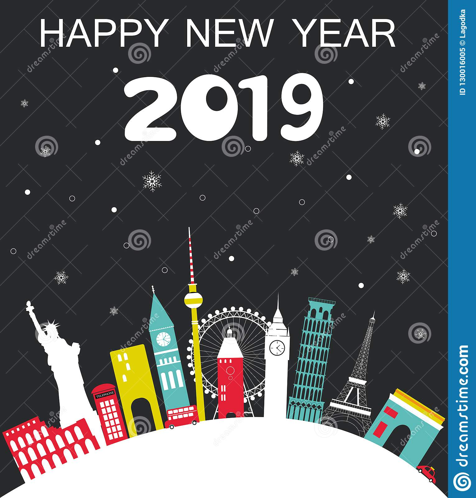 2019 Travel Trailers: Happy New Year 2019 Travel Background Stock Vector