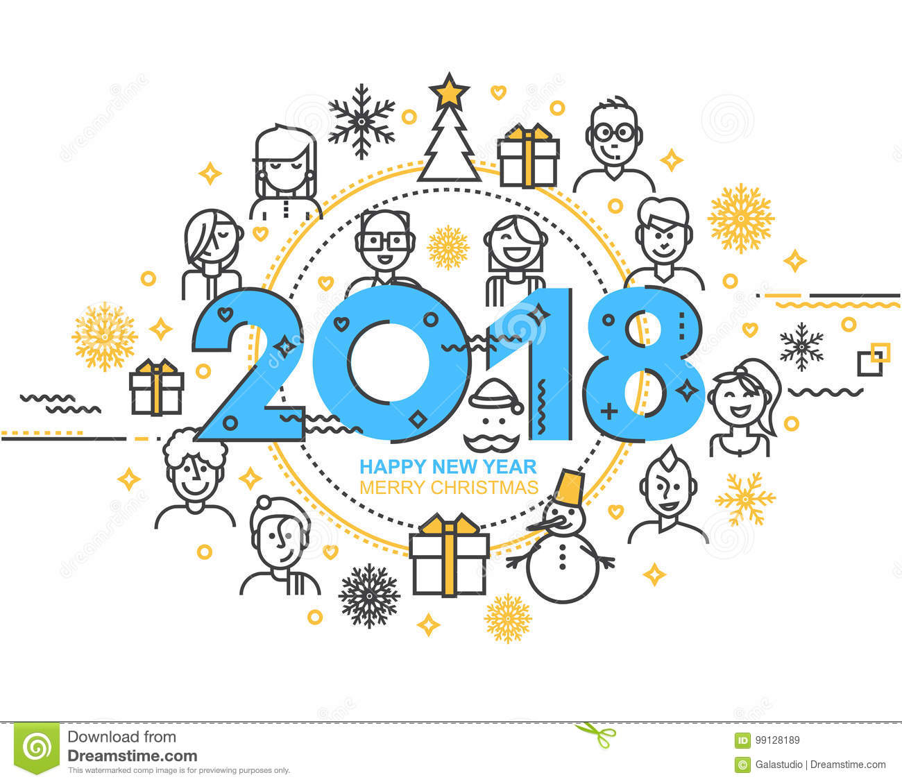 2018 Happy New Year Trendy And Minimalistic Card Or Background ...