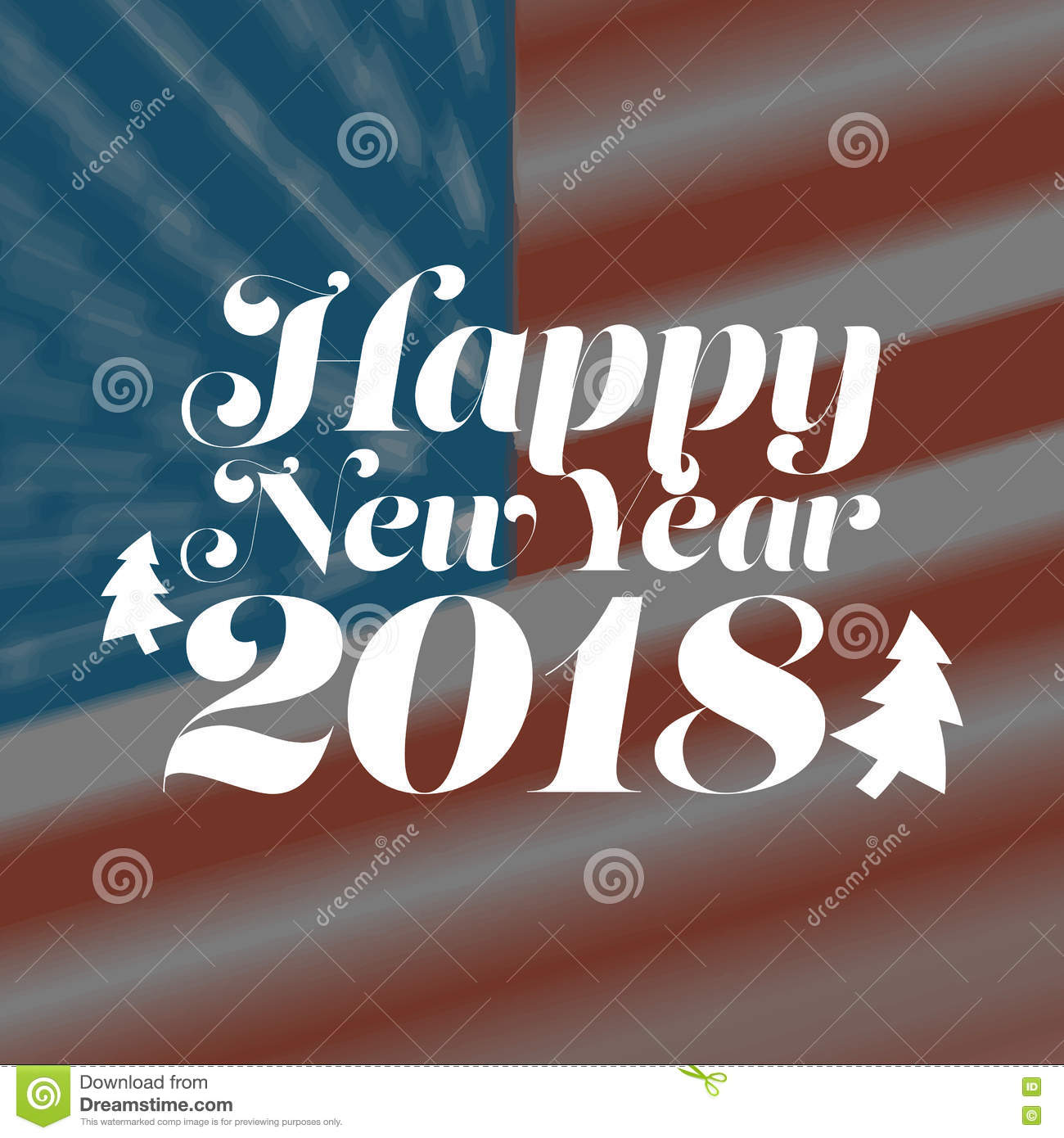 happy new year 2018 with usa flag background