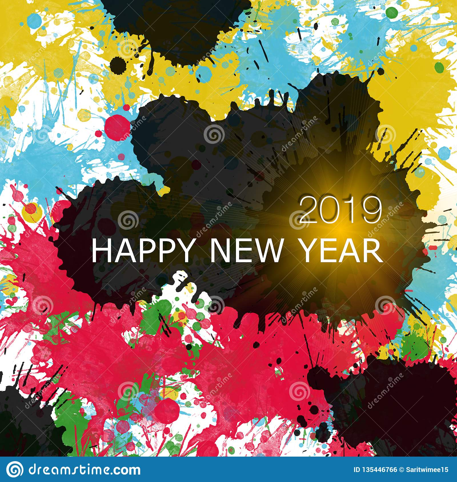 Happy New Year 2019 A Variety Of Colors Color Drops Stock