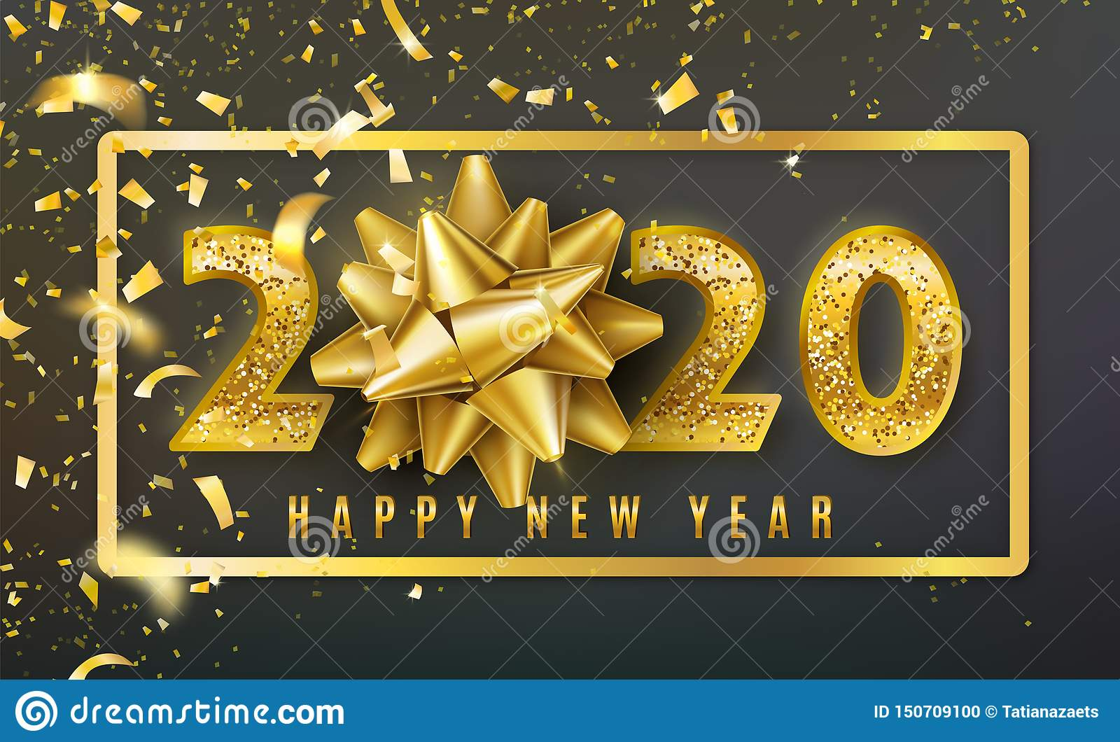 2020 Happy New Year Vector Background With Golden Gift Bow