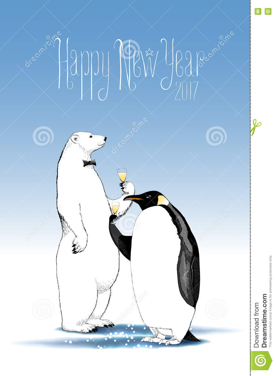 Happy New Year 2017 Vector Drawing, Greeting Card Stock ...