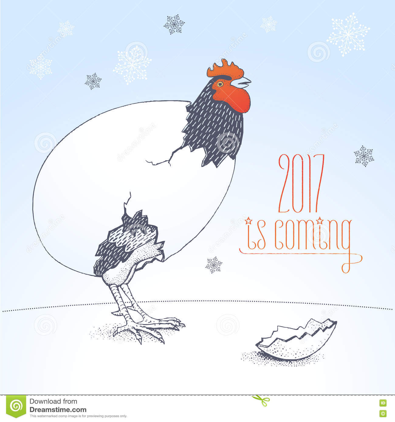 Happy New Year 2017 Vector Funny Seasonal Greeting Card Stock Vector ...