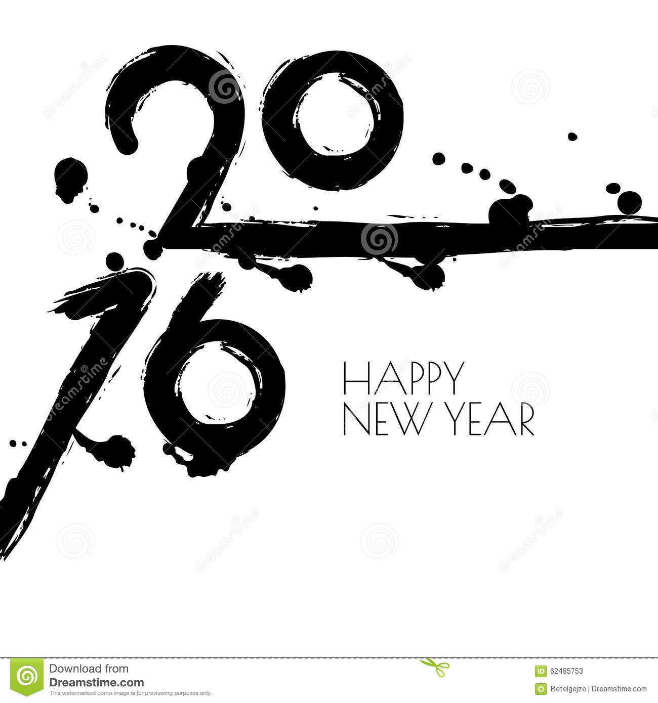 happy new year 2016 vector greeting card with black and white wa