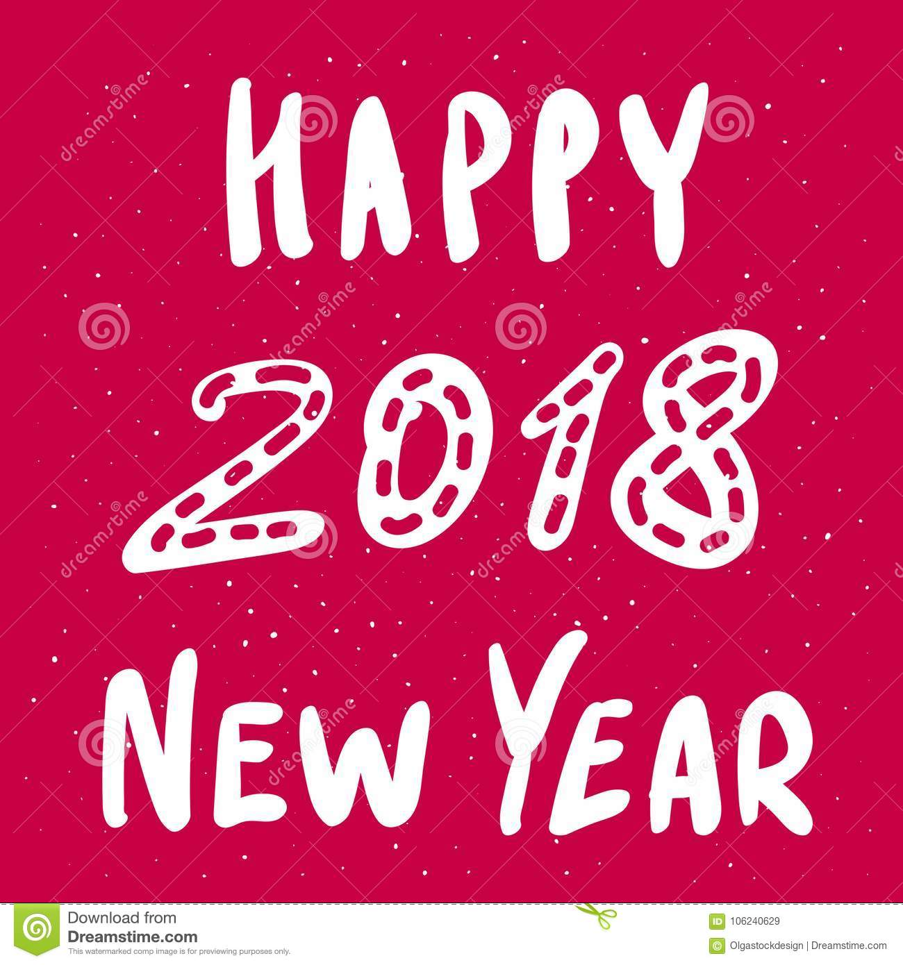 Happy New Year 2018 Vector Greeting Card With Funky Style