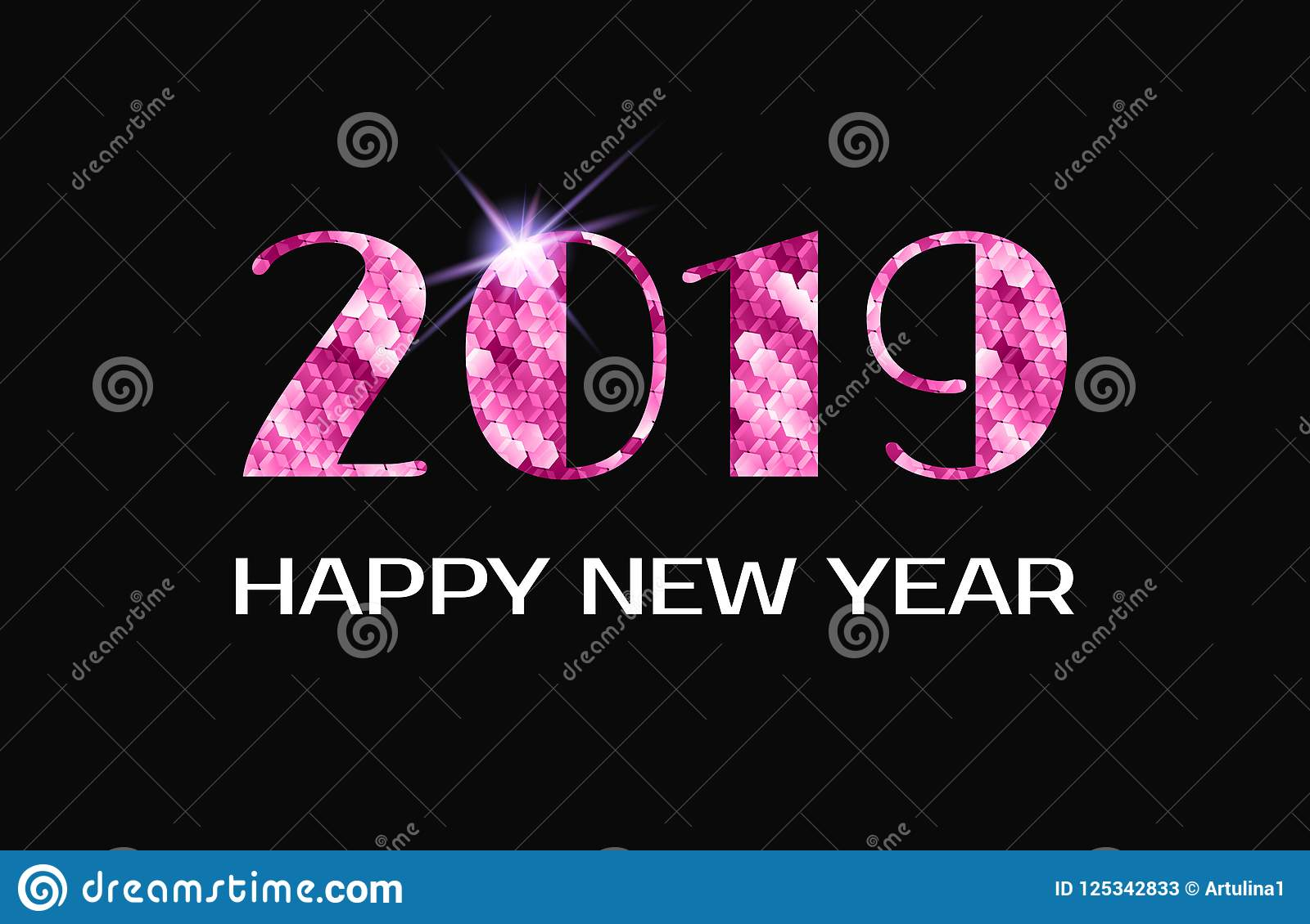 2019 Happy New Year. Vector Greeting Card With Pink Numbers Stock ...