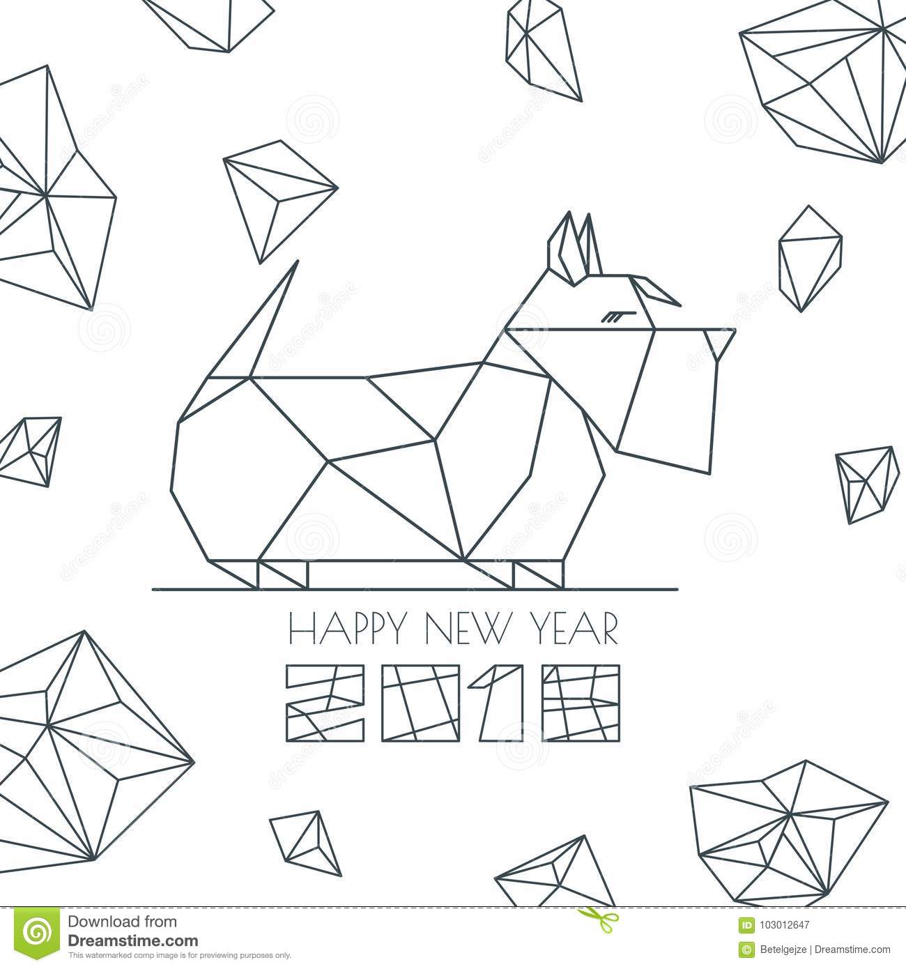 Happy new year 2018 vector greeting card poster banner stock happy new year 2018 vector greeting card poster banner with geometric outline dog modern symbol chinese calendar decoration monochrome scottish terrier m4hsunfo
