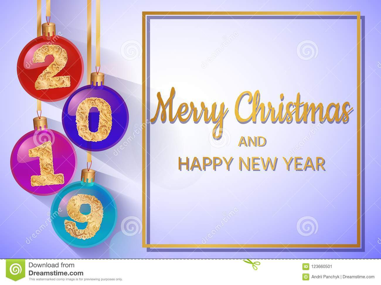 Happy New Year 2019 Vector Greeting Illustration With Golden