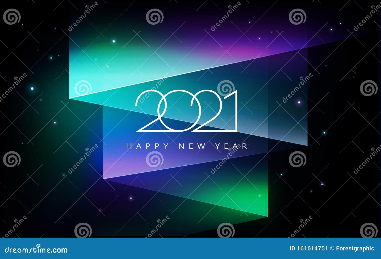 2021 Happy New Year Vector Illustration - Aurora Borealis ...