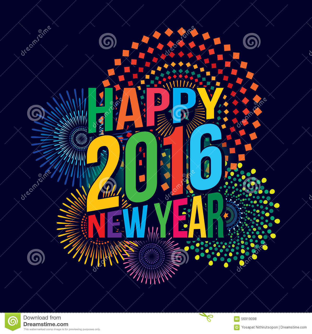Vector illustration of Colorful fireworks. Happy new year 2016 theme.