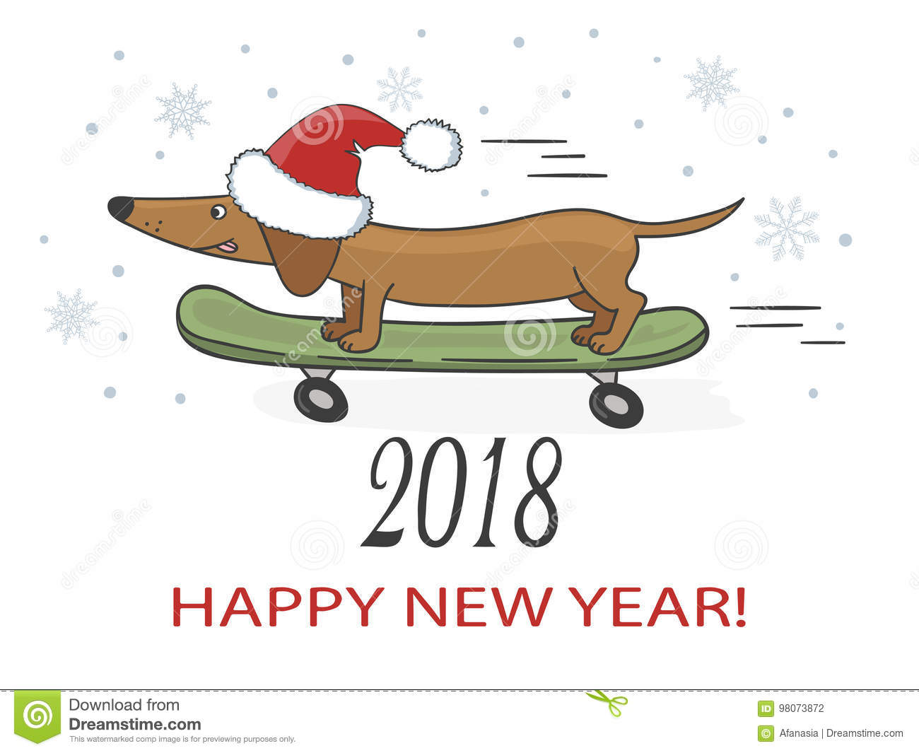 happy new year 2018 vector illustration with cute dachshund dog