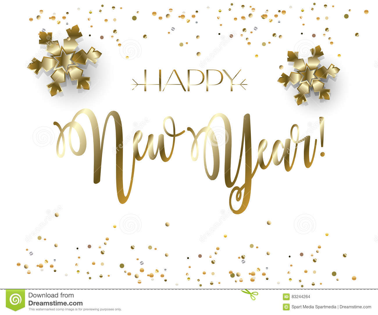 Happy New Year 2019 Gold Lettering Confetti Decoration ...
