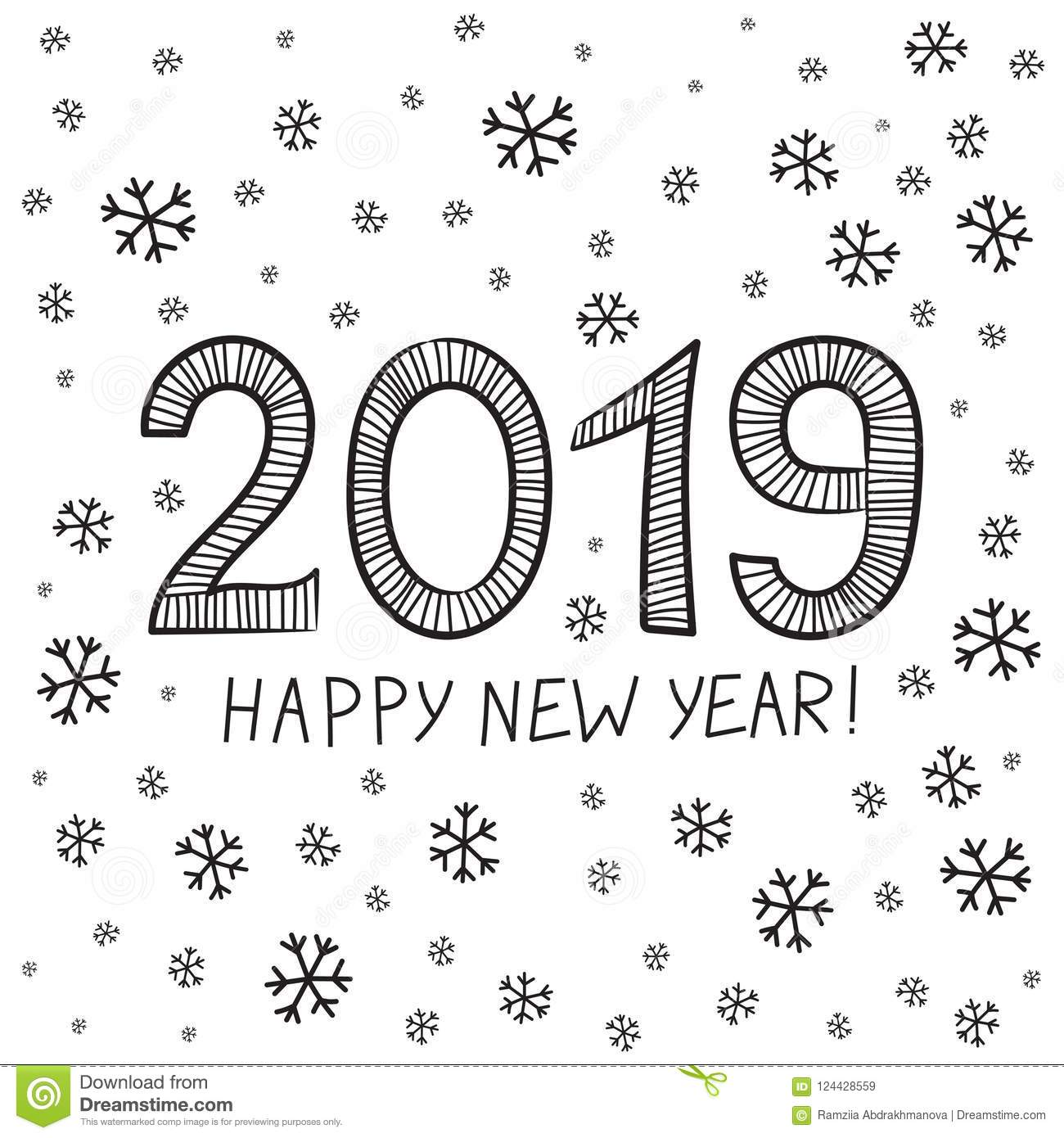picture regarding Printable New Year Cards identified as 2019 Pleased Refreshing 12 months. Vector Print. Xmas Card