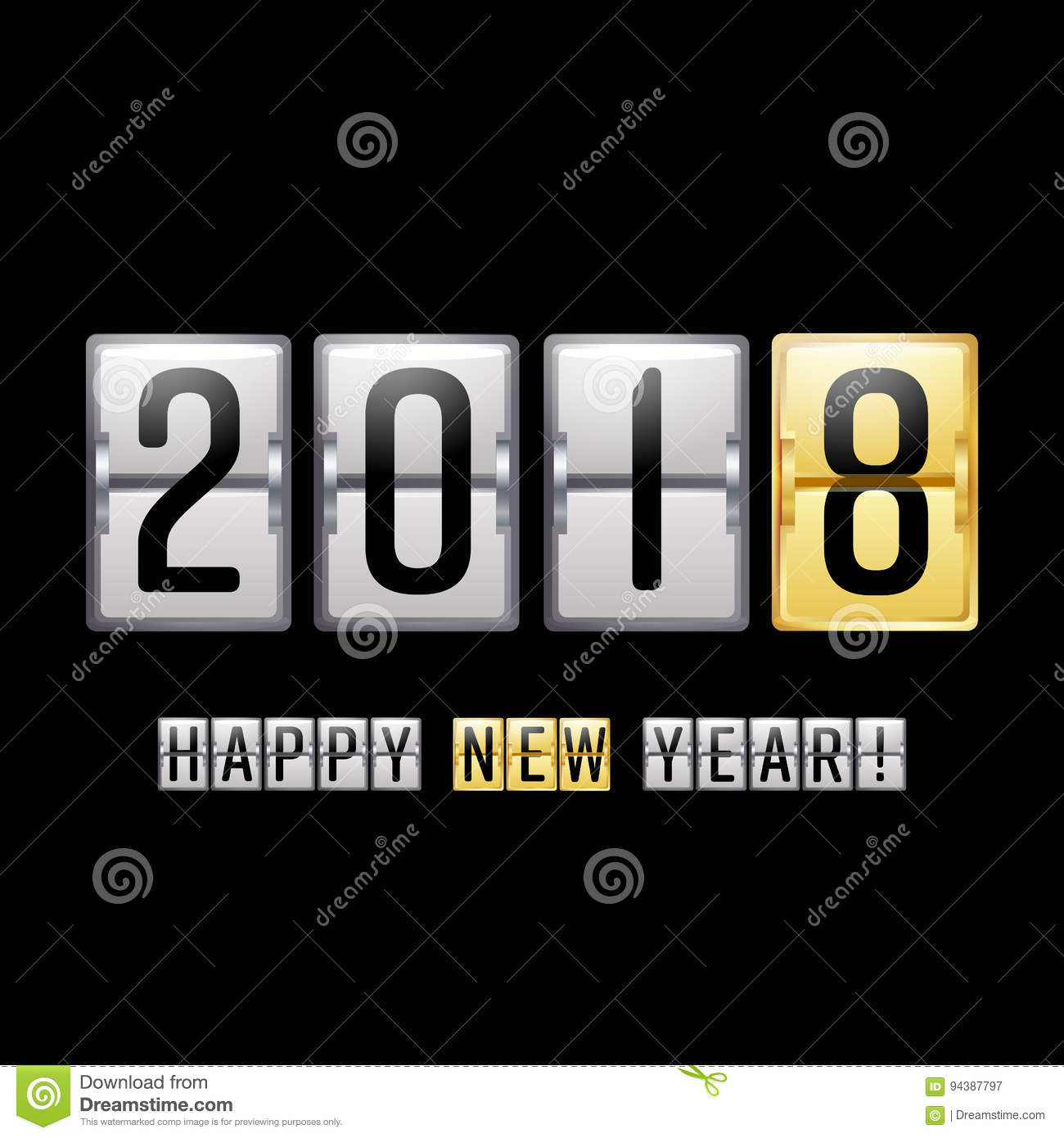 happy new year 2018 vector scoreboard counter chinese new year 2018 greeting background