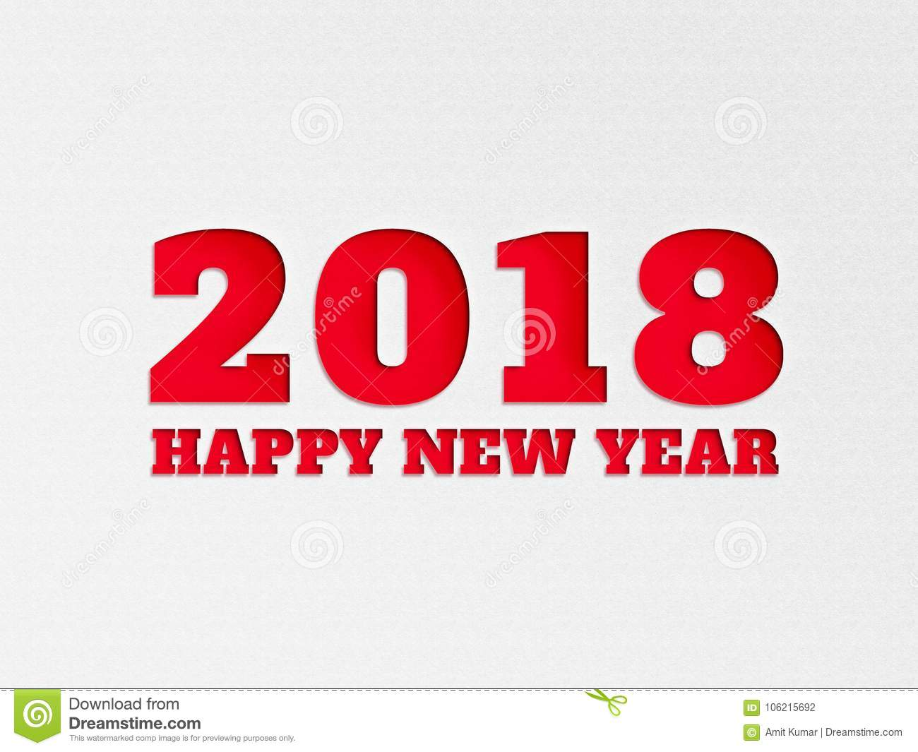 happy new year 2018 wallpaper banner background flower with paper cut out effect in red color