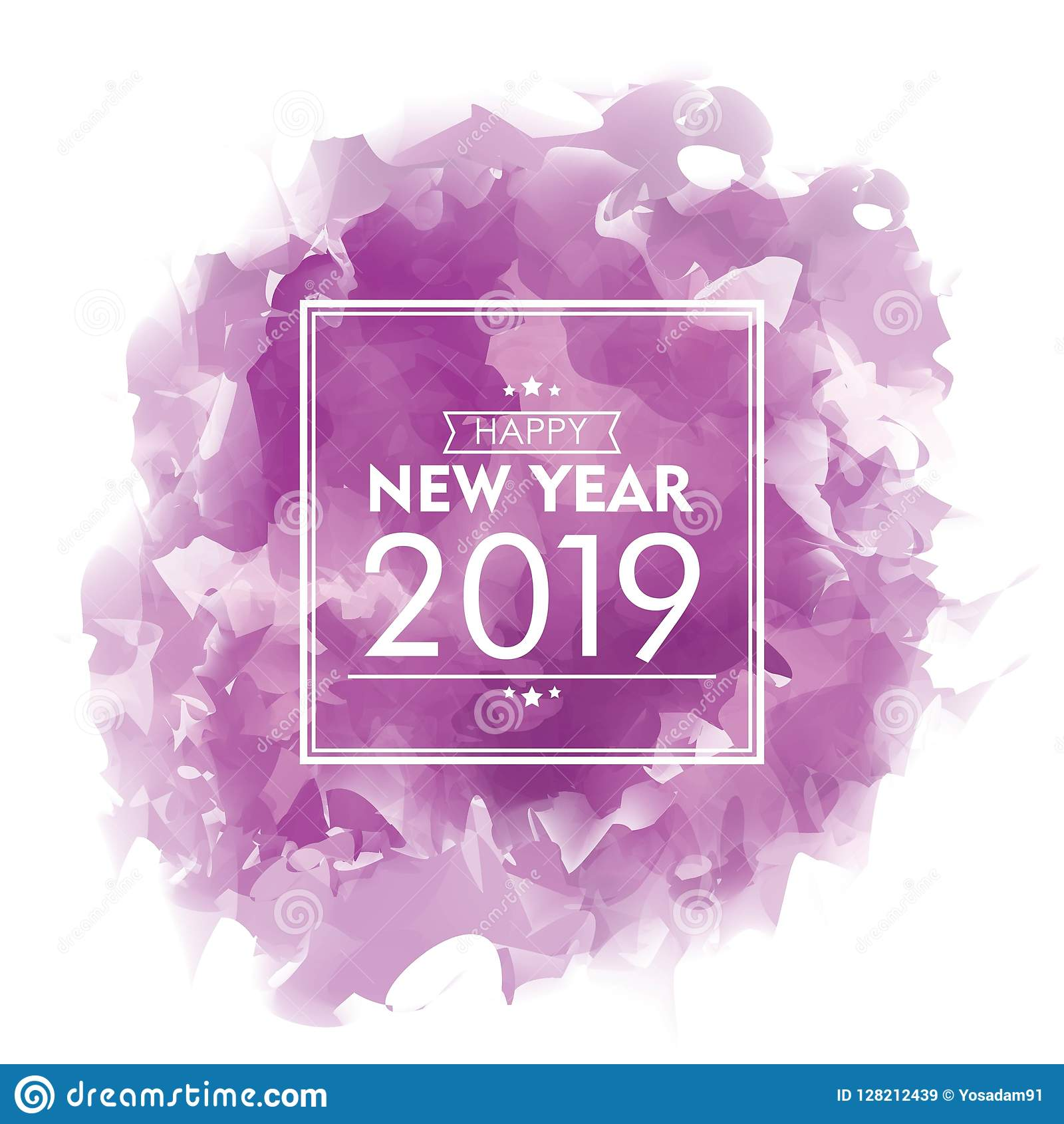happy new year 2019 watercolor design purple cloud celebration banner vector illustration for greeting