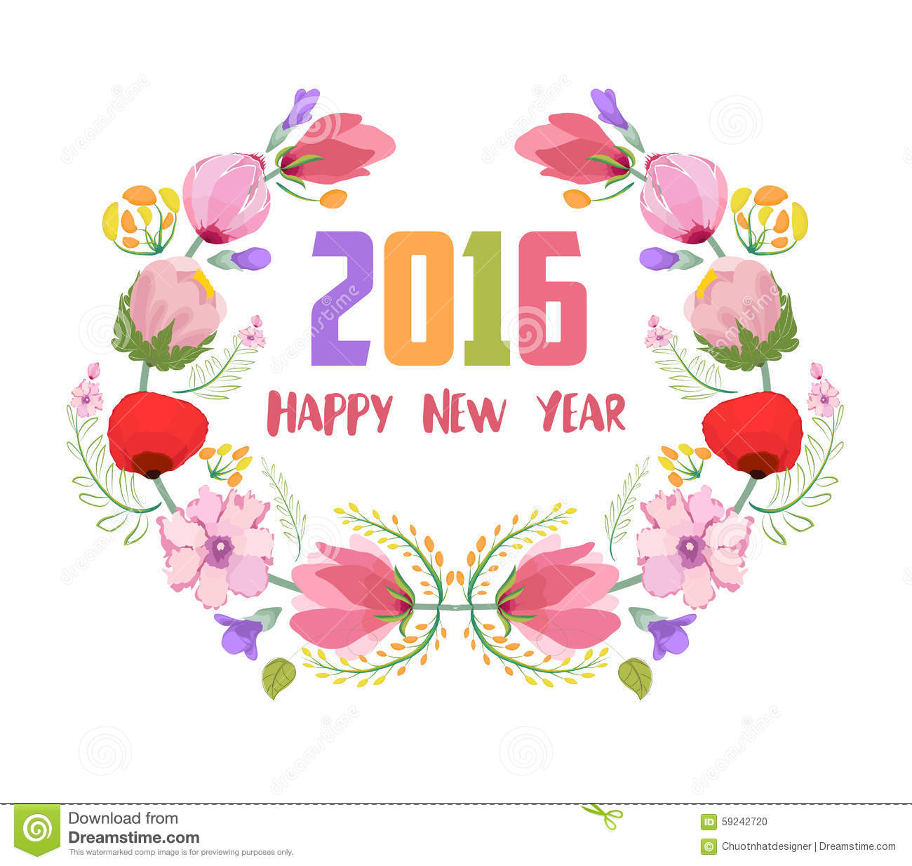 New year 2016 stock photo image 58693644 - Happy New Year 2016 Watercolor Flowers Frame Stock Illustration 1300x1234