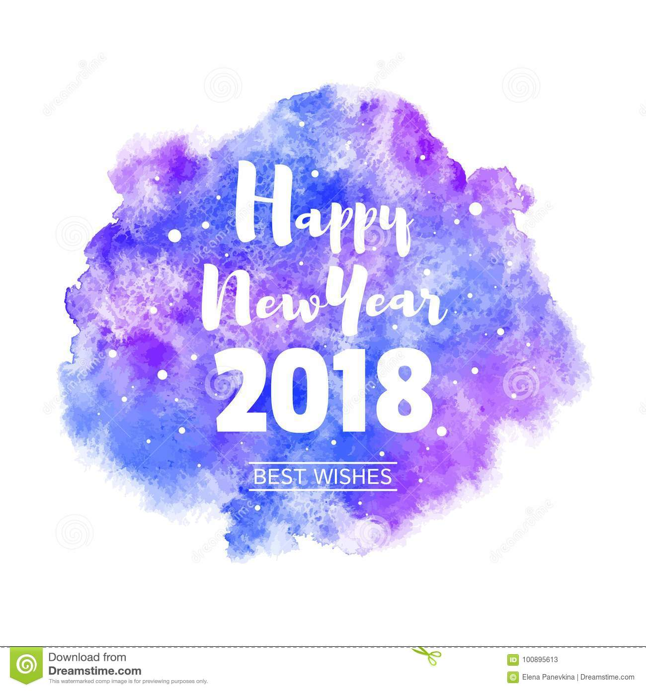 happy new year 2018 watercolor vector greeting card