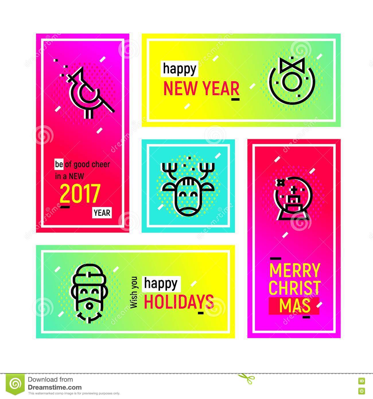 happy new year web banners set