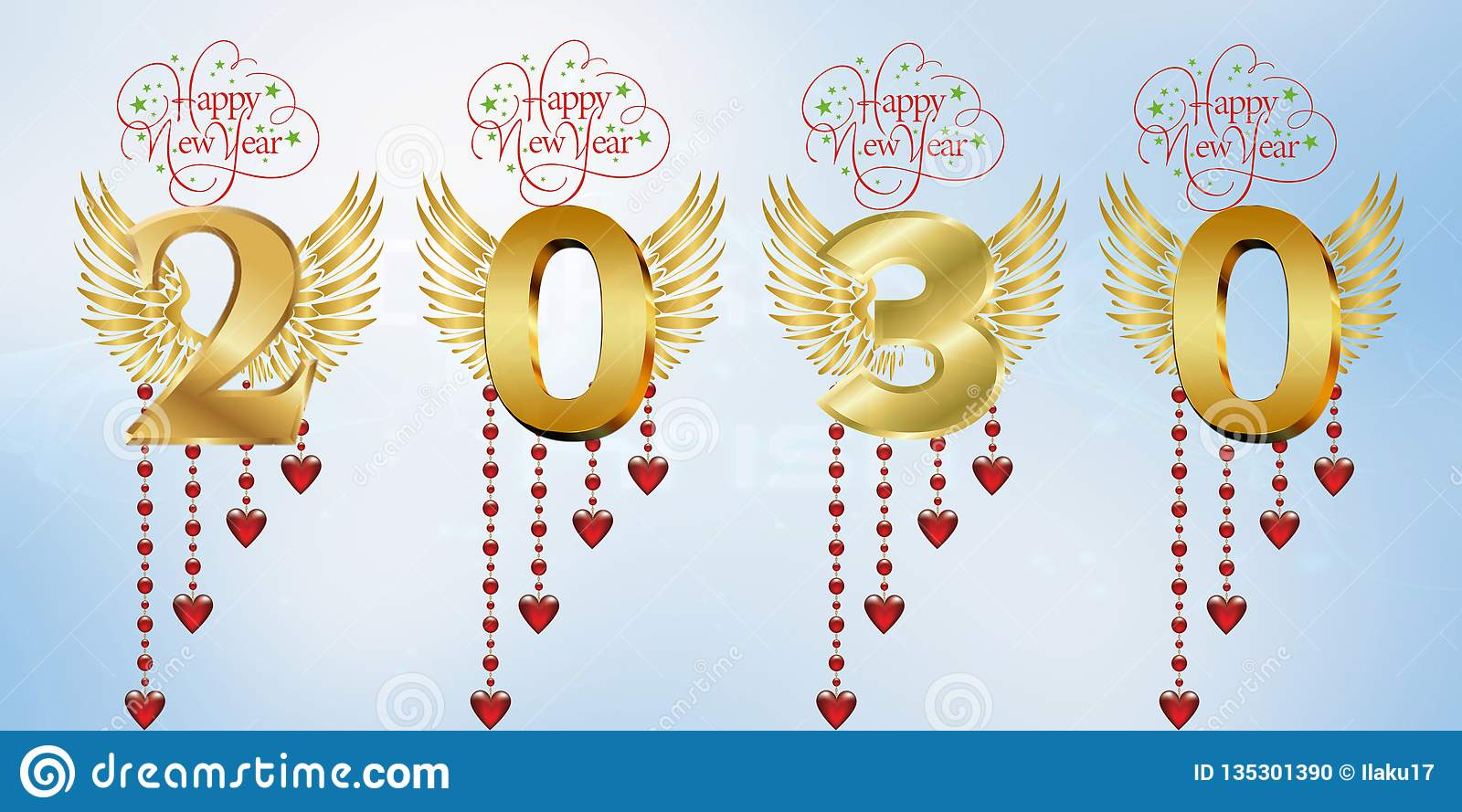 A Year Of Happiness happy new year 2030 stock illustration. illustration of 2028