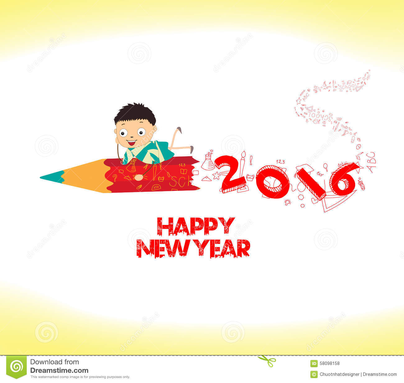 Happy New Year 2016. Welcome To School Stock Illustration ...