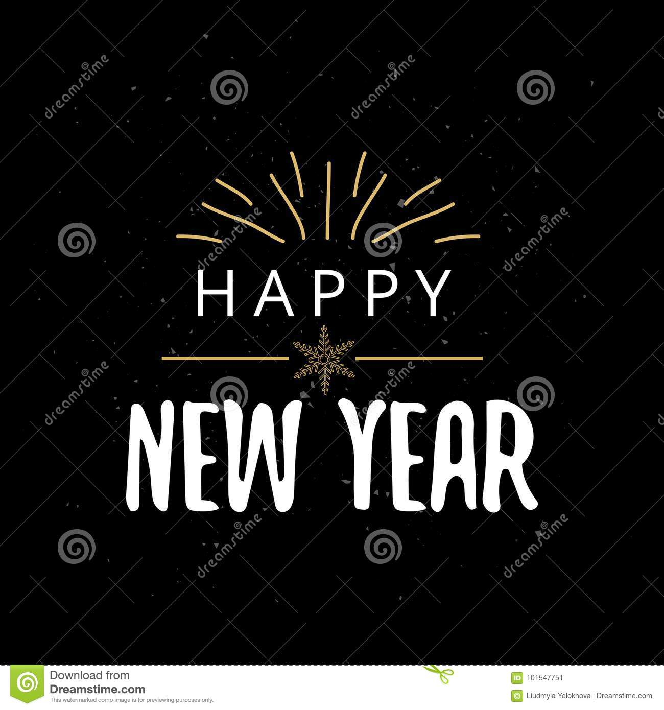 Happy New Year typography. Vector illustration