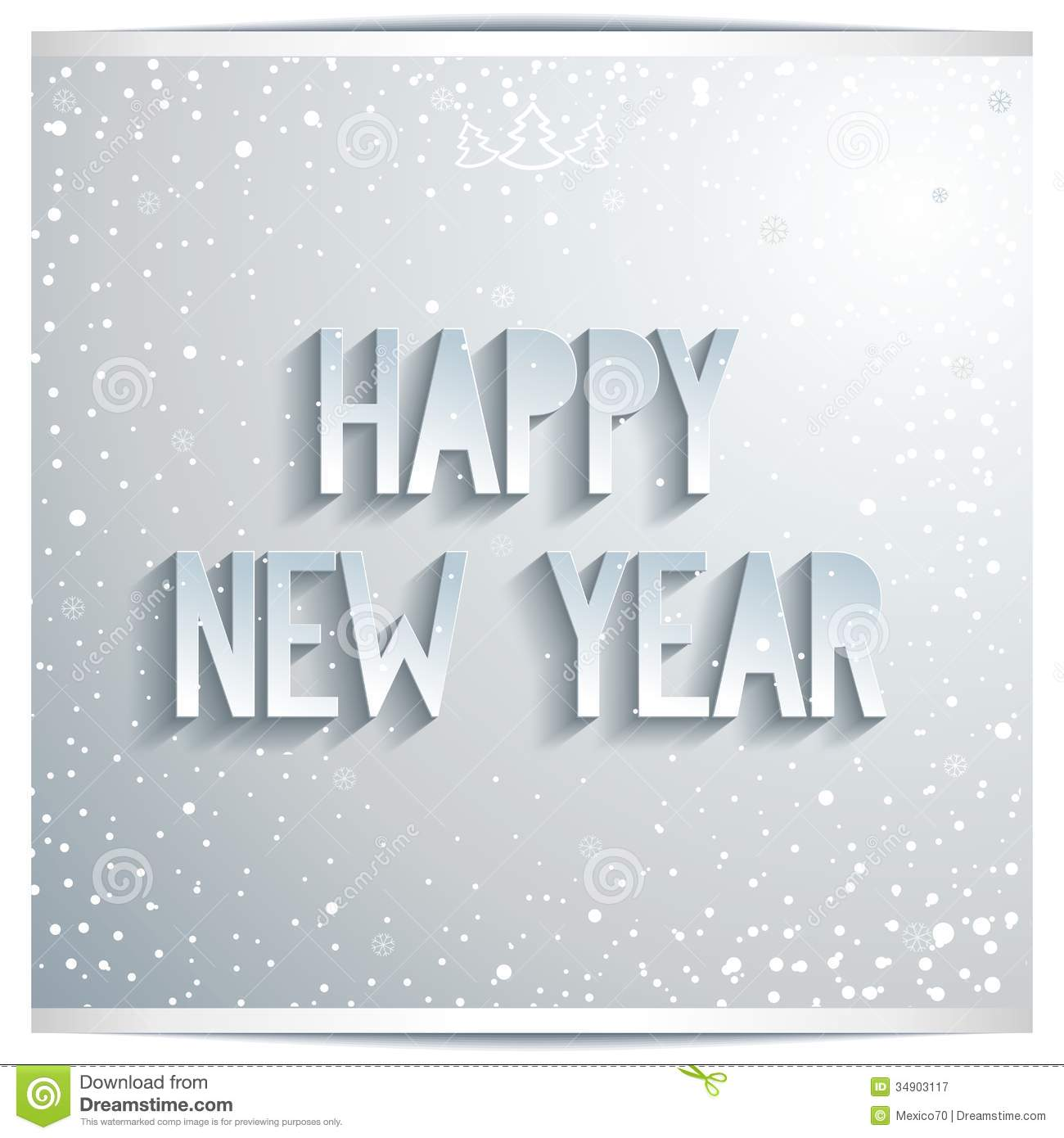 happy new year white lettering on grey background stock