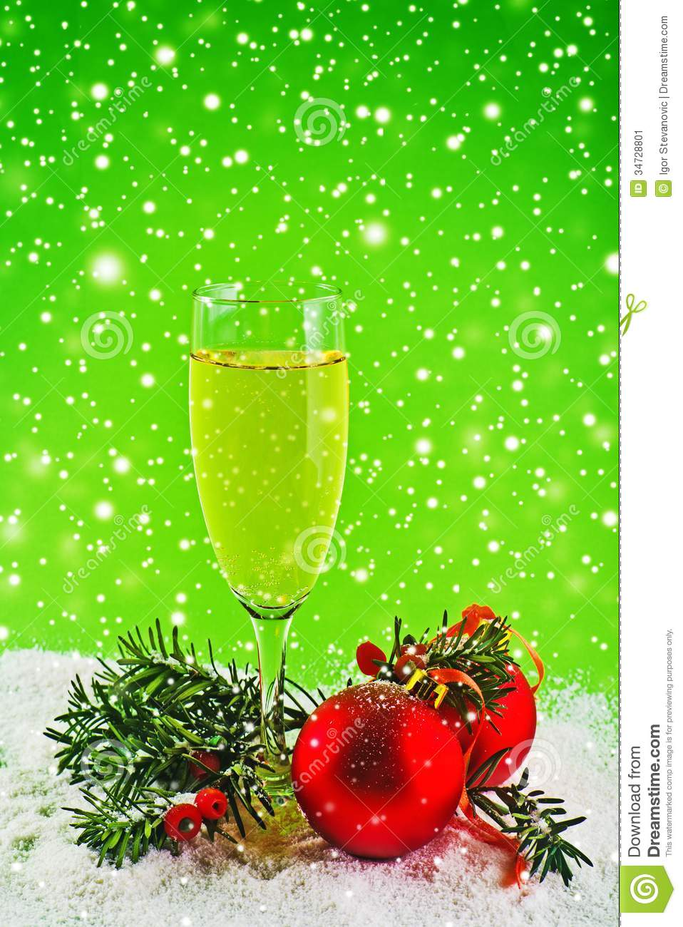 ... Year card. White wine and christmas balls. New Year's Eve decoration: dreamstime.com/stock-image-happy-new-year-white-wine-christmas...