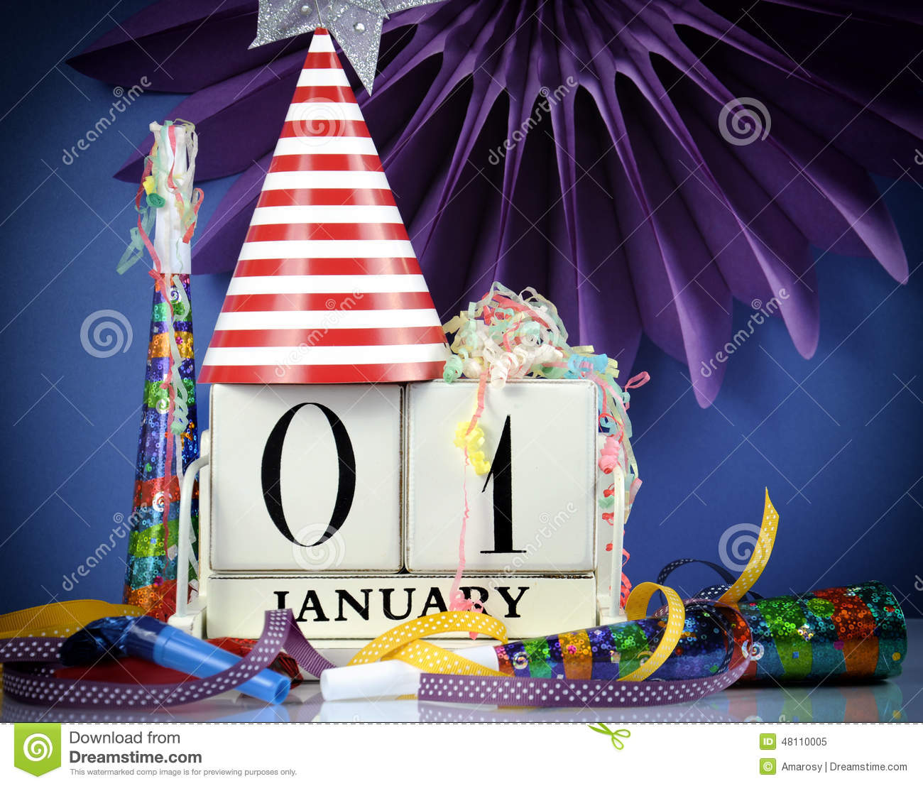Happy New Year White Wood Vintage Calendar Stock Image ...