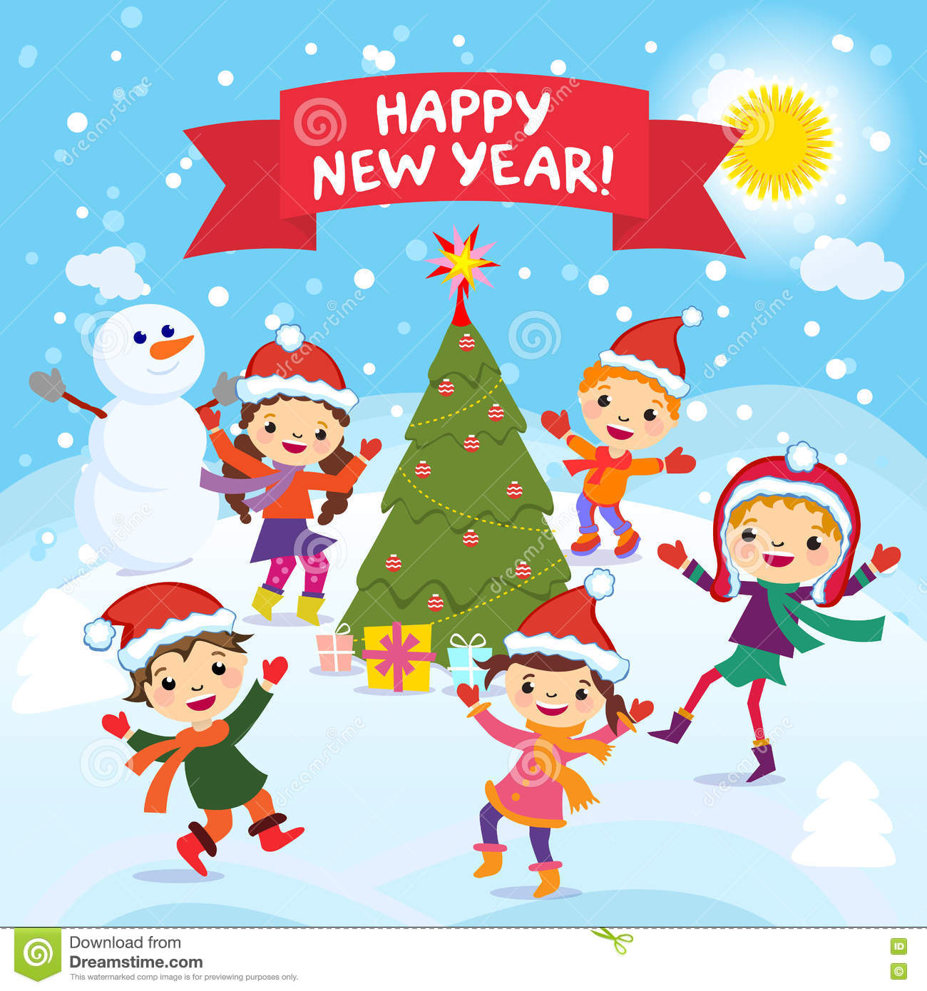 happy new year 2017 winter fun cheerful kids playing in the snow stock vector illustration of a group of happy children in red santa hat and playing
