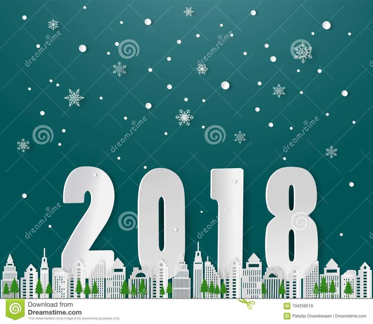 Happy New Year On Winter Season Snowflake City Landscape With Text
