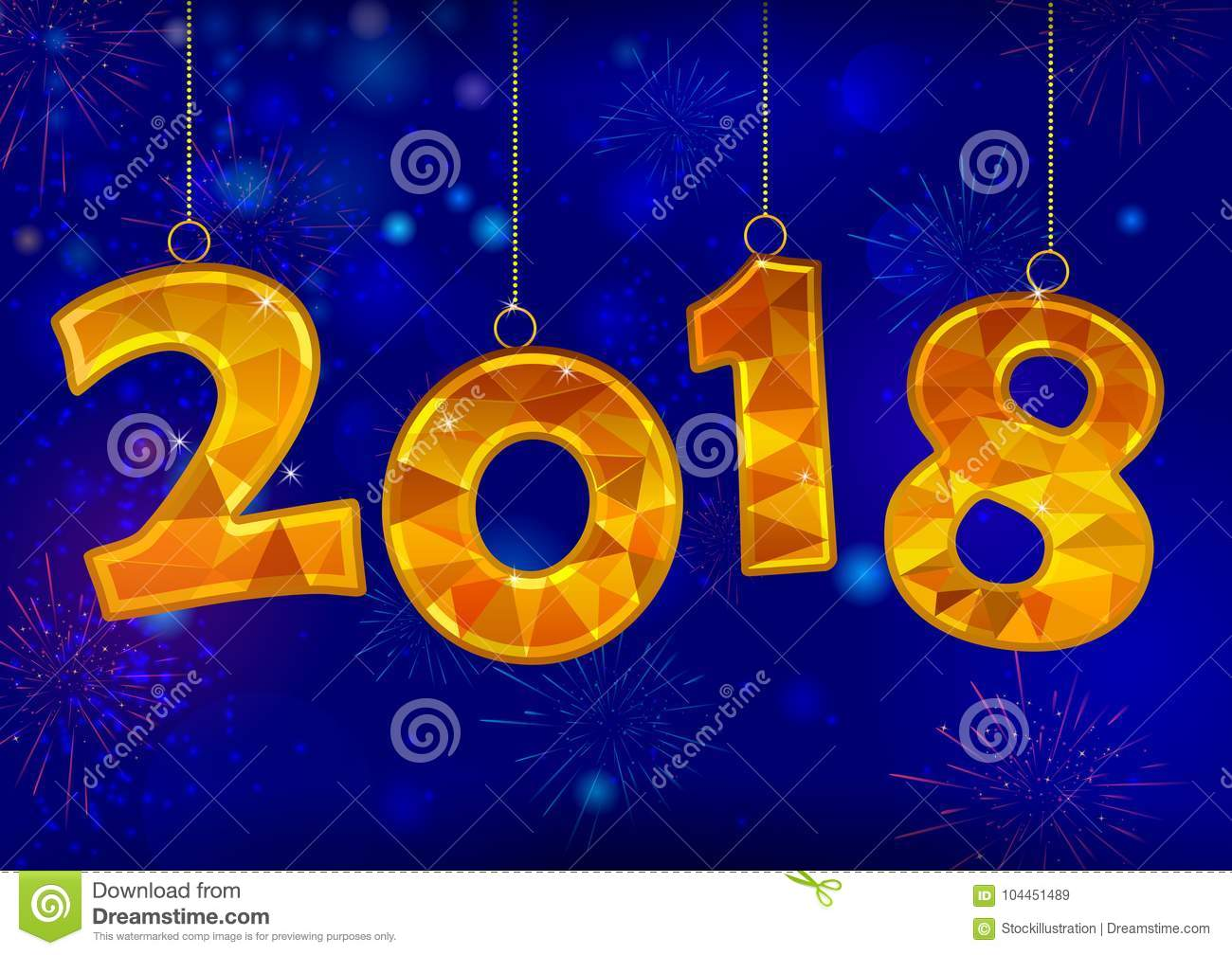happy new year 2018 wishes greeting card template background design