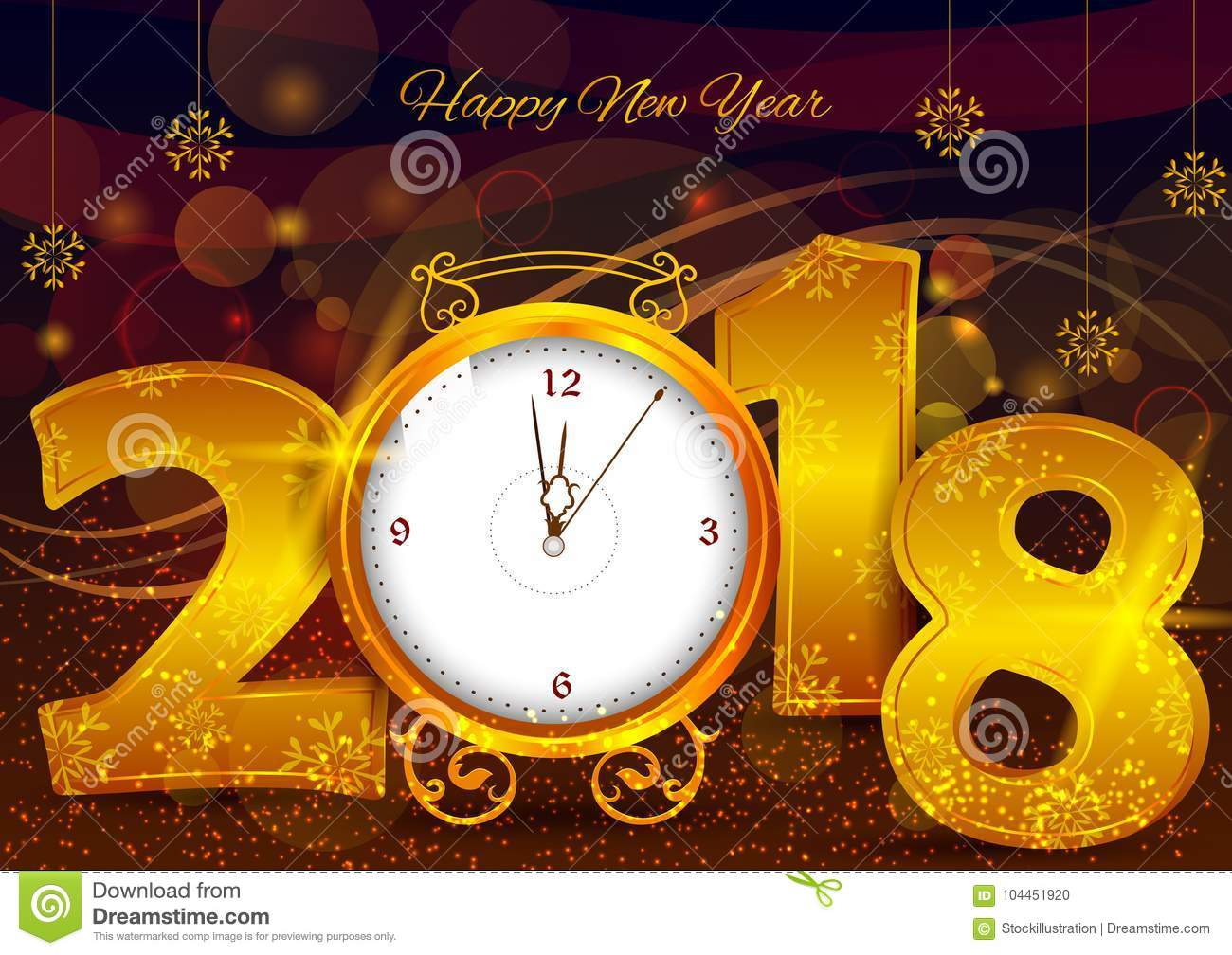 Happy New Year 2018 Wishes Greeting Card Template ...