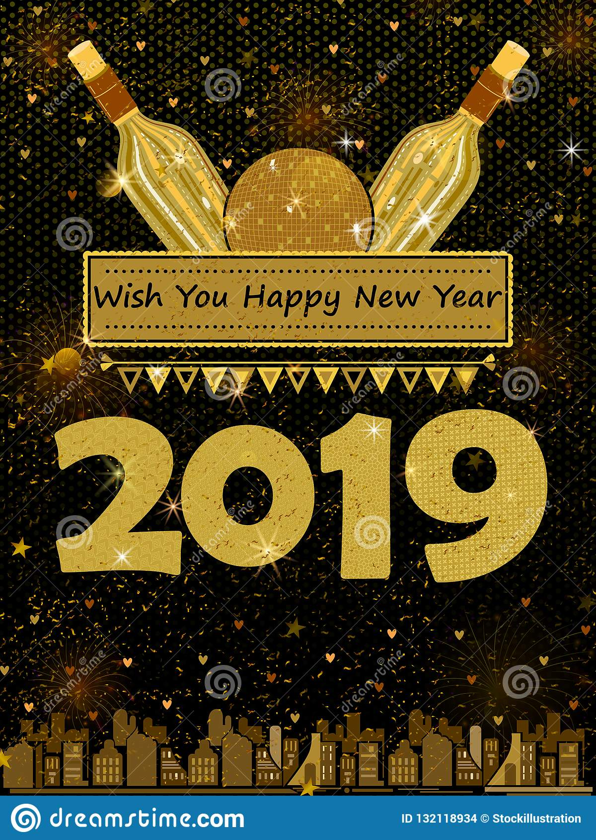Happy New Year 2019 Wishes Greeting Card Template ...