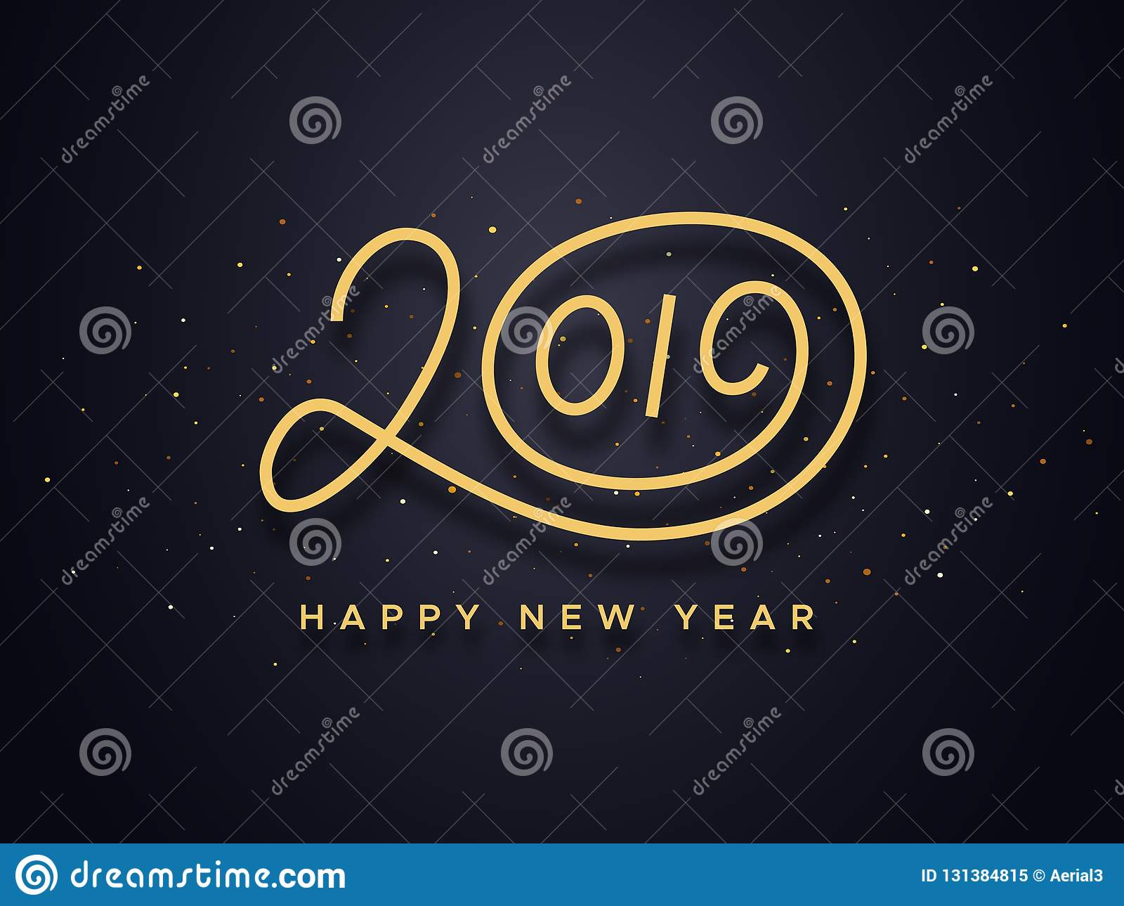 happy new year 2019 wishes typography text and gold confetti on luxury black background premium vector illustration with lettering for winter holidays