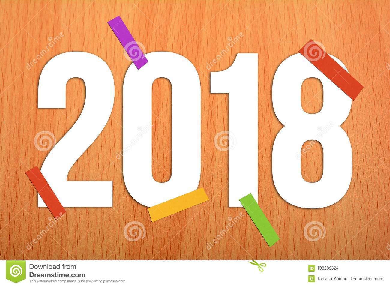 2018 happy new year on wooden background