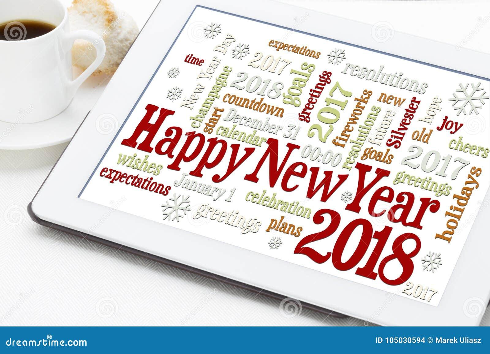 Happy New Year 2018 Word Cloud Stock Photo - Image of card, season ...