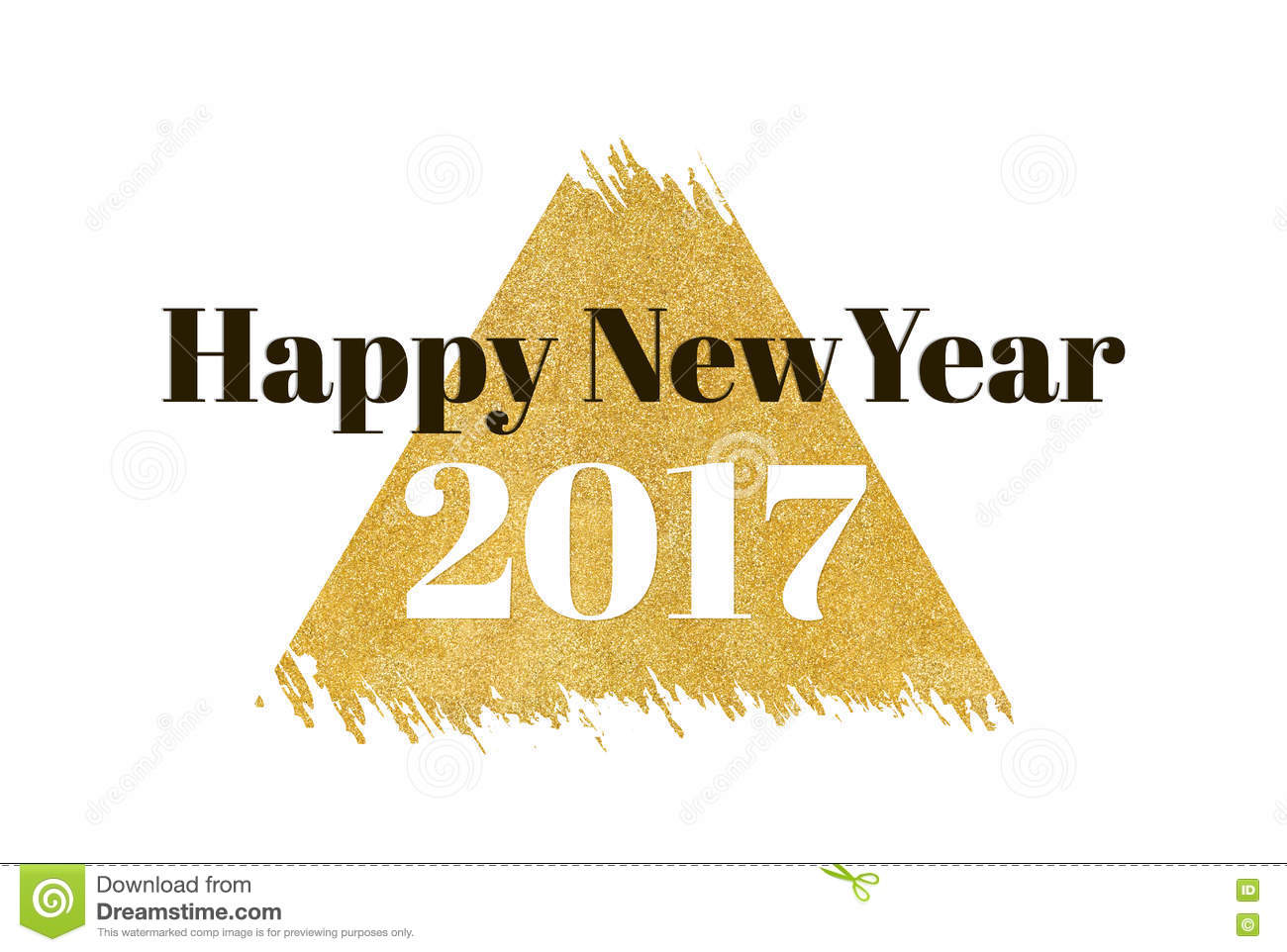 happy new year 2017 word on gold rectangle glitter on white back