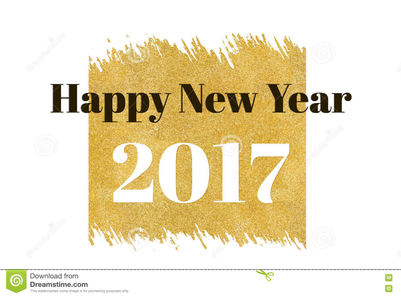 happy new year 2017 word on gold rectangle glitter on white backgroundholiday blessing card