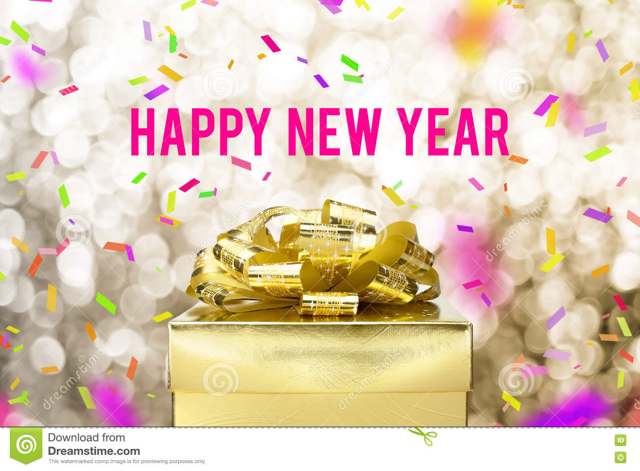 Happy new year word with Golden gift box with ribbon and colorfu