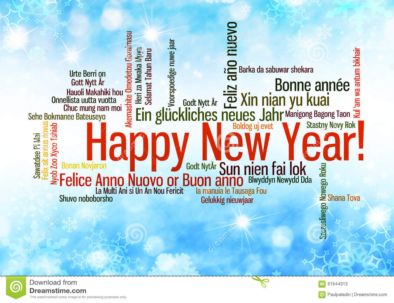 Happy New Year Words Cloud Stock Photo - Image: 61644313