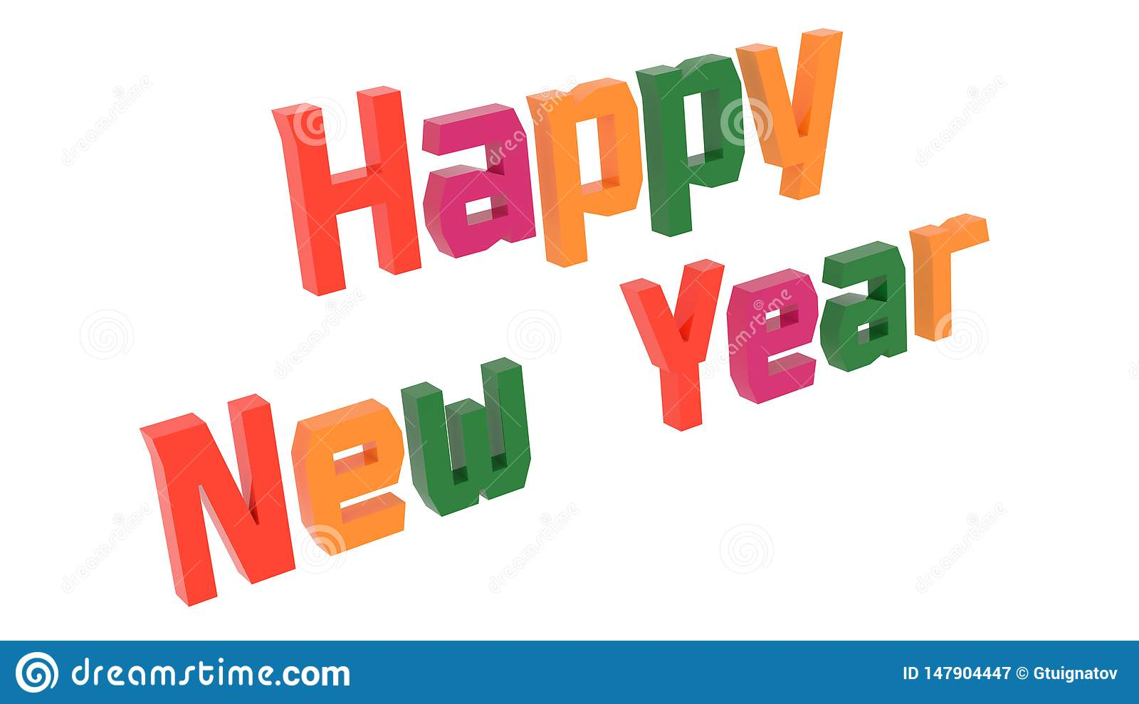 Happy New Year Words 3D Rendered Congratulation Text With ...