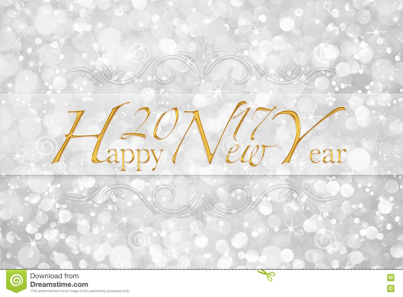Happy New Year 2017 Words On Glitter Bokeh Background Stock ...