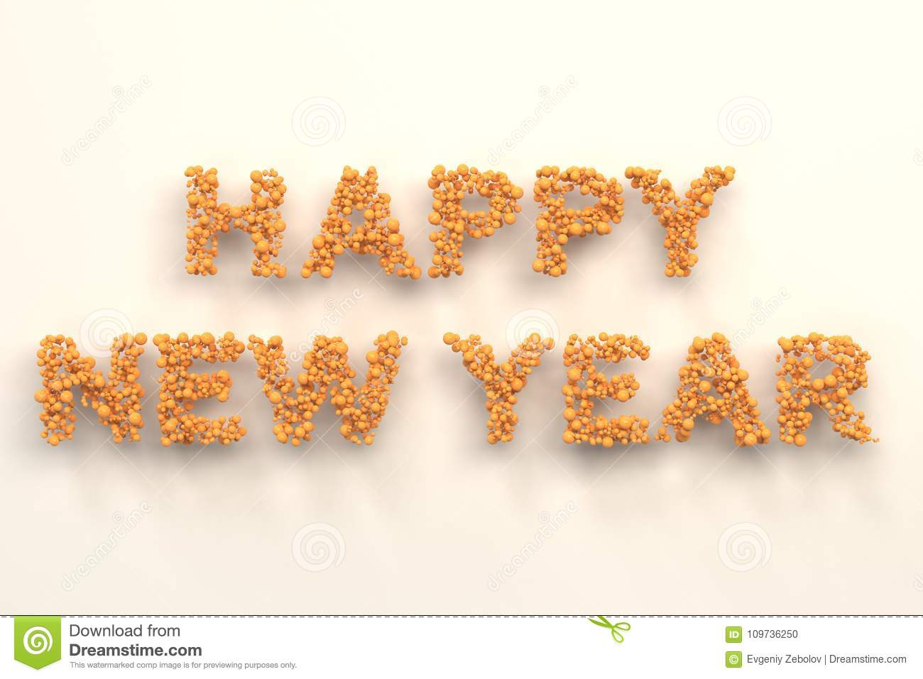 Happy New Year Words From Orange Balls On White Background Stock ...