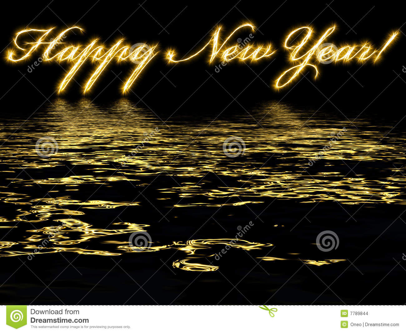 Happy New Year-written With Reflection In Water Stock Illustration ...